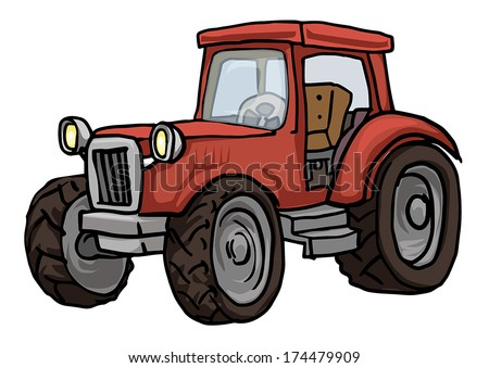 Red hand drawn farm tractor, vector illustration
