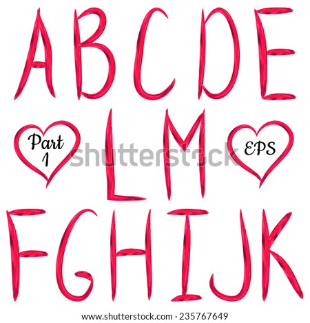 Red handwritten textured letters on white background. VectorABC. Acrylic design.Editable template. - stock vector