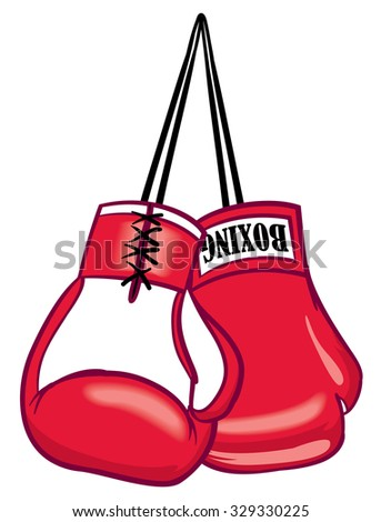 Red hanging sports fighter boxing gloves - stock vector