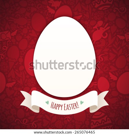Red Happy Easter Poster With Egg. In the EPS file, each element is grouped separately. - stock vector