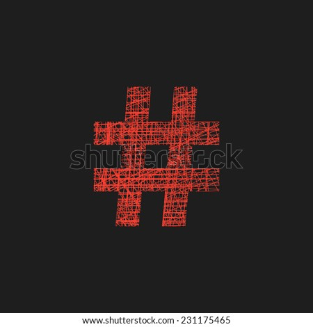 red hashtag icon in sketch hand drawn style. concept of number sign and social media. isolated on black background. trendy modern vector illustration - stock vector