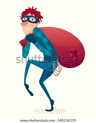 Red head Hacker step out of smart phone screen after his criminal activity crack, spam, stealing money ,account password, personal data. Vector flat illustration.  - stock vector