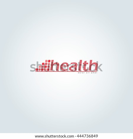 Red health logo design with background