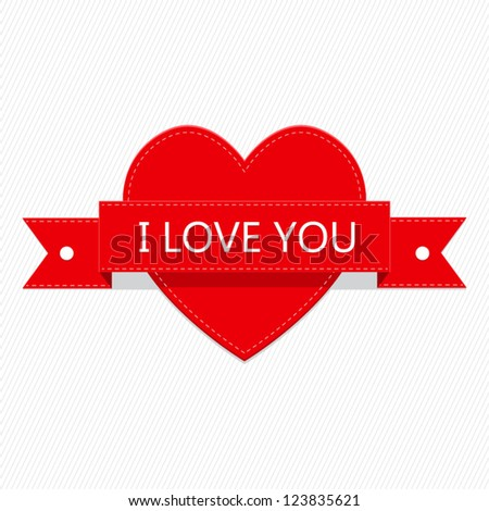 Red Heart and Red Ribbon Valentines Day with White Background - stock vector