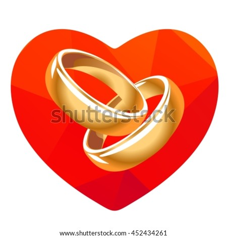 Red heart and two wedding rings isolated on a white background.