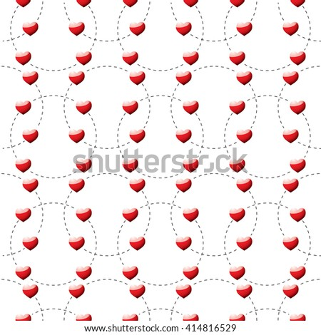 Red heart background template with dotted lines seamless - stock vector