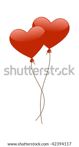 Red Heart Balloons isolated on a white background. Vector illustration.