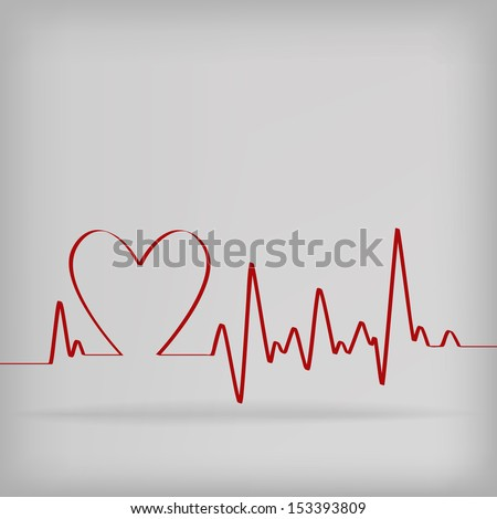 Red Heart Beats Cardiogram on White background - vector illustration - stock vector