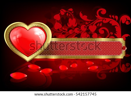 Red heart design with a border and rectangular frame with gold frame and rose petals
