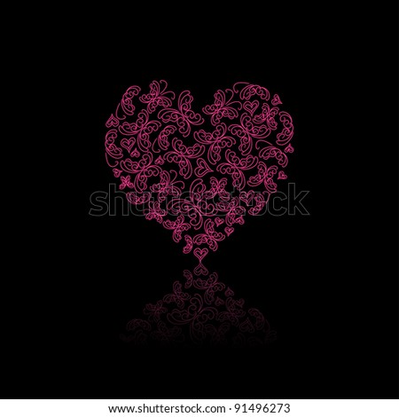 Red Heart Filled With Butterfly Silhouettes On Black Background. Vector Valentine Illustration - stock vector
