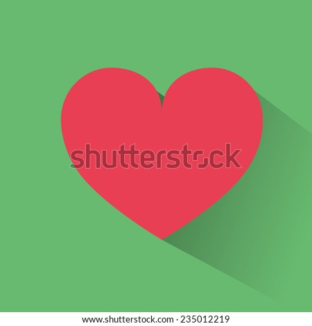 red heart flat icon design vector illustration
