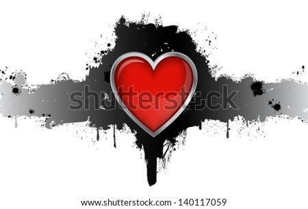 Red Heart Grunge Badge On White Background Vector Illustration - stock vector