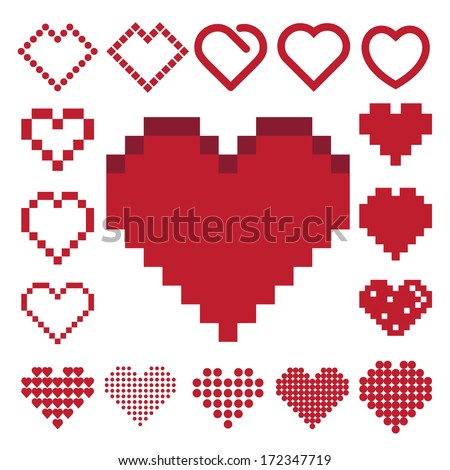 Red heart icon set . Illustration eps10 - stock vector