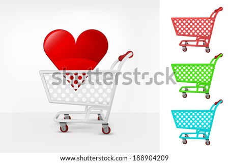 red heart in shopping cart colorful collection concept vector illustration