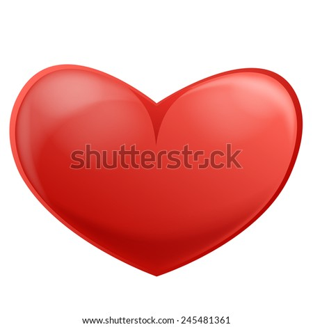 Red Heart, Isolated On White, Vector Illustration.