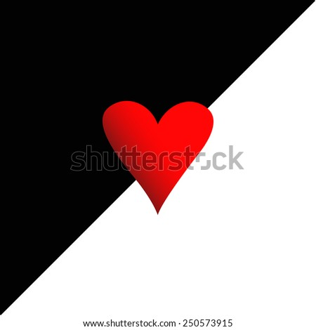 red heart on black and white background vector