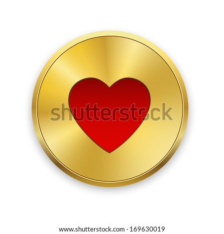 Red heart on gold metal badges. Valentines day. Vector background. - stock vector