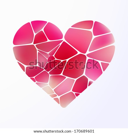 Red heart on light purple background. And also includes EPS 10 vector - stock vector