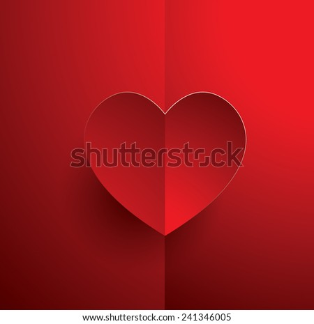 red heart on red background vector eps 10 graphic illustration - stock vector