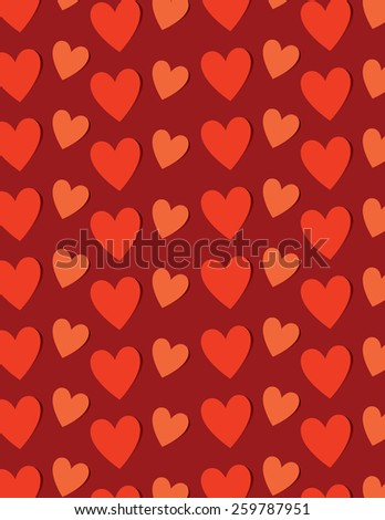 Red heart pattern over red color background - stock vector