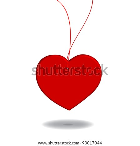 Red heart pendant - stock vector