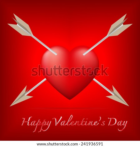 Red heart pierced by two arrow with Valentine's Day concept,Vector illustration - stock vector
