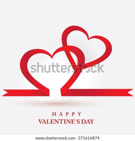 red heart ribbon valentine daybackground - Valentine Ribbon