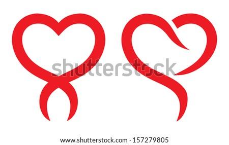 Red heart shape - stock vector