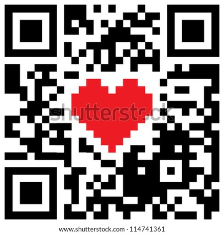 Red heart symbol in abstract QR-code - stock vector
