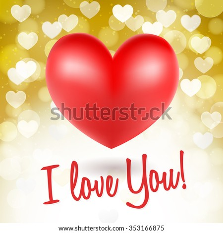 red heart symbols on glittering golden background and i love you words. vector - stock vector