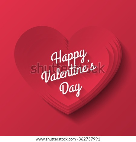 Red heart Valentines day - stock vector