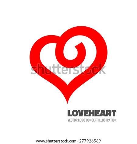 Red heart - vector logo template concept illustration. Love sign. Valentine's Day creative symbol. Design element. - stock vector