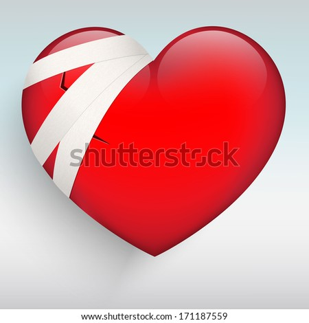 Red heart with a wound and bandage - stock vector