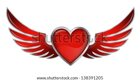 Red Heart With Angel Wings On White Background Vector Illustration - stock vector
