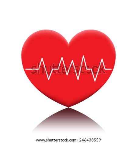 red heart with cardiogram - stock vector