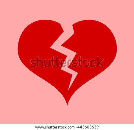 Red heart with crack - symbol of heart attack or broken heart after breakup of love relationship - stock vector