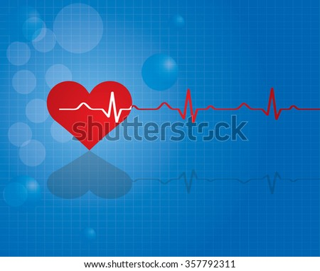 Red heart with ekg - medical design.vector
