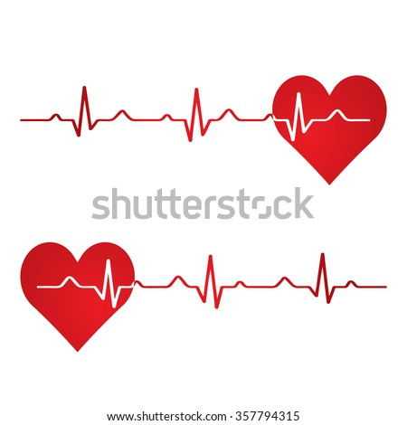 Red heart with ekg on white - medical design.vector - stock vector