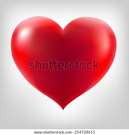 Red Heart With Grey Background With Gradient Mesh, Vector Illustration - stock vector