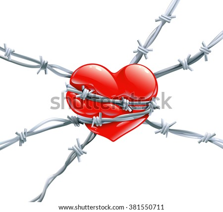 Red Heart Highlights Wrap Enclosed Barbed Stock Photo Photo Vector