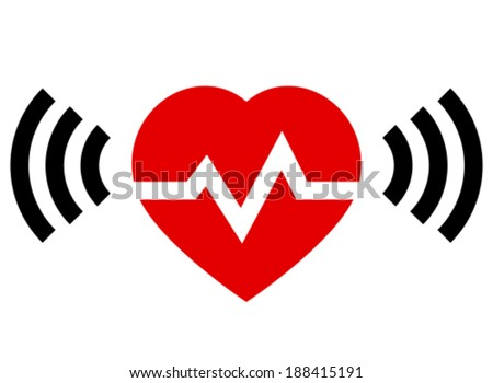 Red heart with rate and radio signal from both sides - stock vector