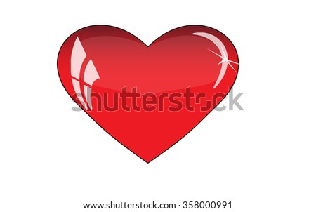 Red heart with reflections on a white background. Red glass heart. - stock vector