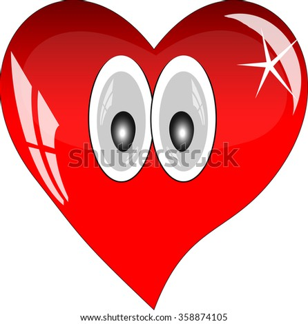 Red heart with reflections on a white background. Red glass heart with eyes.  - stock vector