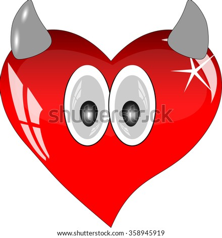 Red heart with reflections on a white background. Red glass heart with eyes and horns.  - stock vector