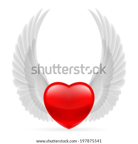 Red heart with white dove wings up. - stock vector