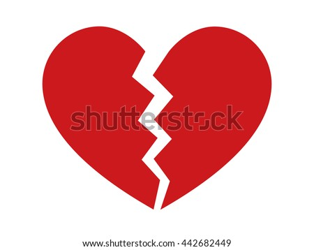 Red heartbreak / broken heart or divorce flat icon for apps and websites - stock vector