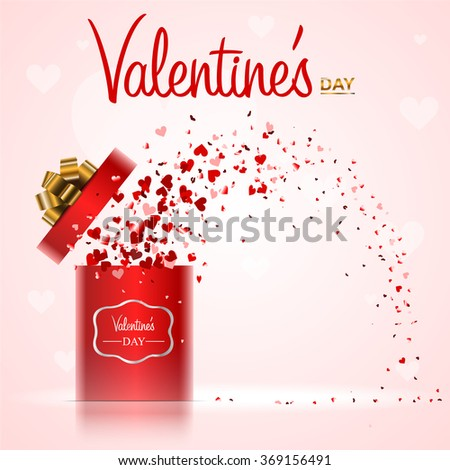 Red hearts coming out from gift box Valentine's day - stock vector