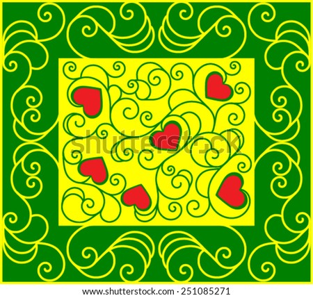 Red hearts for Valentine's Day in deco yellow and green pattern from ornamental scrolls - stock vector