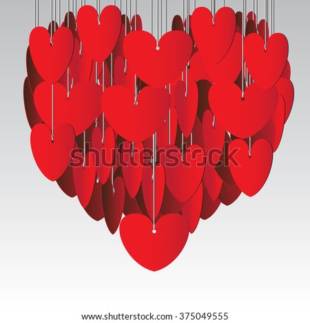 Red hearts hanging on gray background vector illustration.