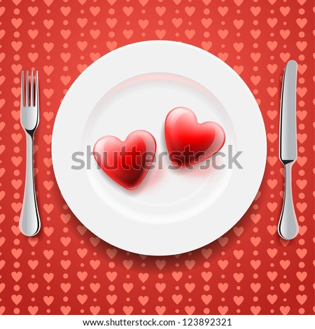 Red hearts on a plate, knife and fork. Valentine's Day - stock vector